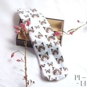 NWOT Angry cat socks white, brown, beige and blue